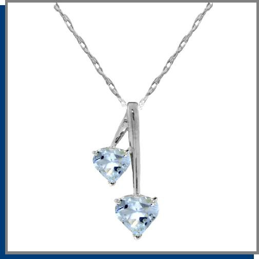 1.40 CT Aquamarine Heart Sterling Silver Necklace 18""