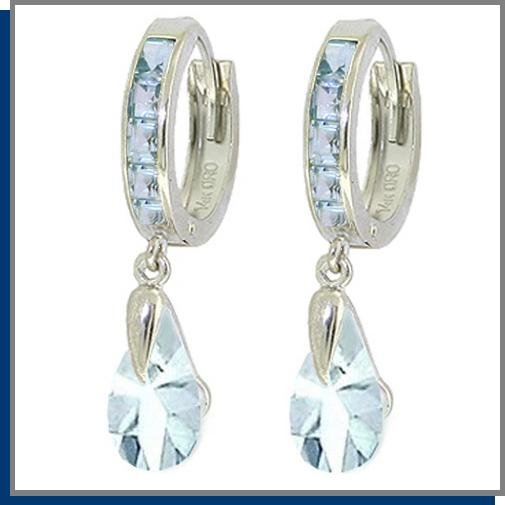 4.30 CT Aquamarine Sterling Silver Hoop Drop Earrings