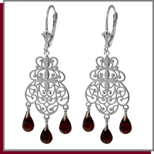 3.75 CT Garnet Sterling Silver Chandelier Earrings
