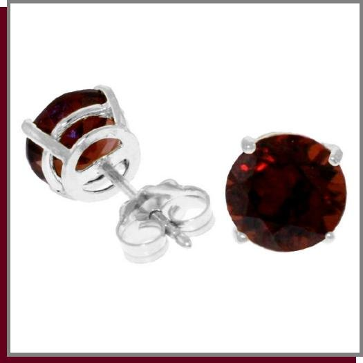 3.10 CT Round Garnet Sterling Silver Stud Earrings