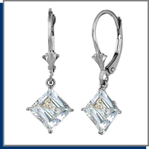 3.20 CT Aquamarine Sterling Silver Drop Earrings