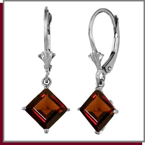 3.20 CT Garnet Sterling Silver Drop Earrings
