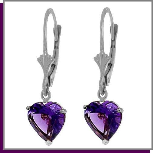 3.25 CT Heart Amethyst Sterling Silver Dangle Earrings