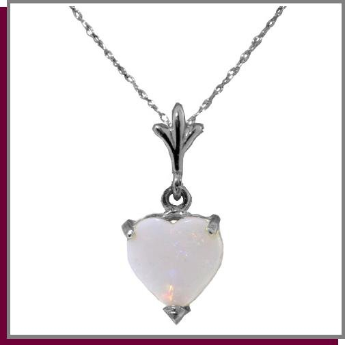 .70 CT Opal Heart Sterling Silver Necklace 18""