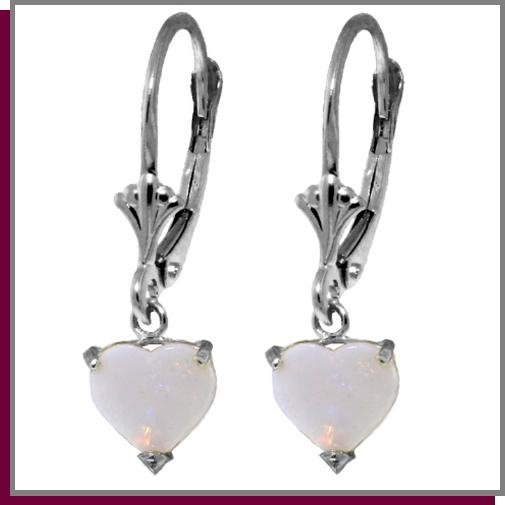 1.30 CT Opal Heart Sterling Silver Dangle Earrings