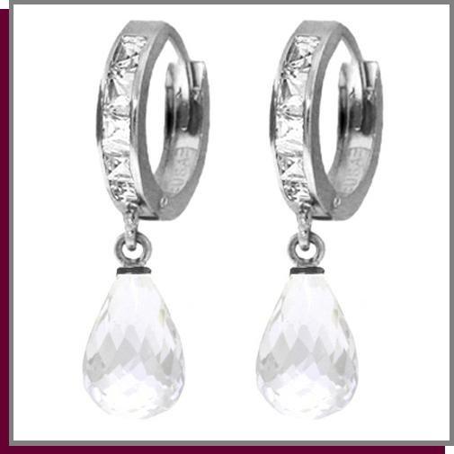 5.35 CT WhiteTopaz Sterling Silver Hoop Drop Earrings