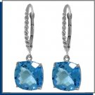 7.20 CT BlueTopaz Sterling Silver Dangle Earrings