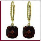 14K 7.20 CT Genuine Cushion Garnet Dangle Earrings