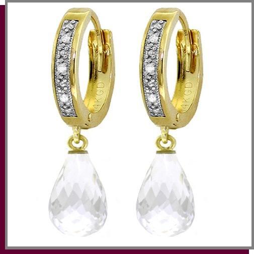 14K Yellow Gold 4.50 CT White Topaz Diamond Earrings