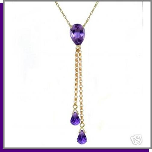 14K Yellow Gold 3.75 CT Amethyst Lariat Necklace