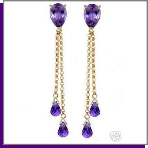14K Yellow Gold 7.50 CT Amethyst Dangle Earrings