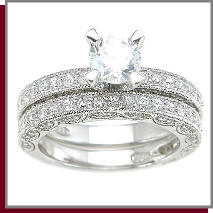 1.5 CT Rhodium Sterling Silver Wedding Ring Set