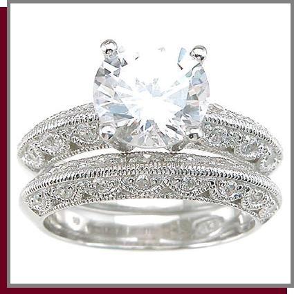 2.25 CT Rhodium Finish Sterling Silver Wedding Ring Set
