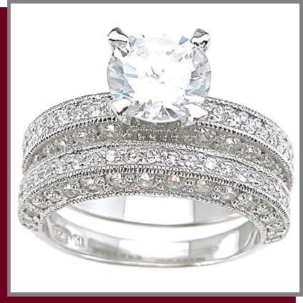 2.0 CT Brilliant Cut Sterling Silver Wedding Rings