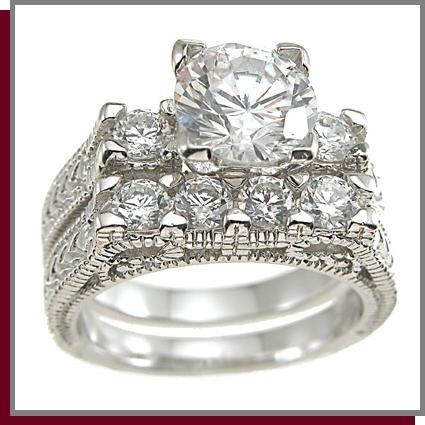 1.5 CT Brilliant Cut Sterling Silver Wedding Rings