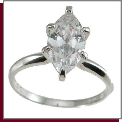 1.0 CT Marquise Cut Solitaire Sterling Silver Ring