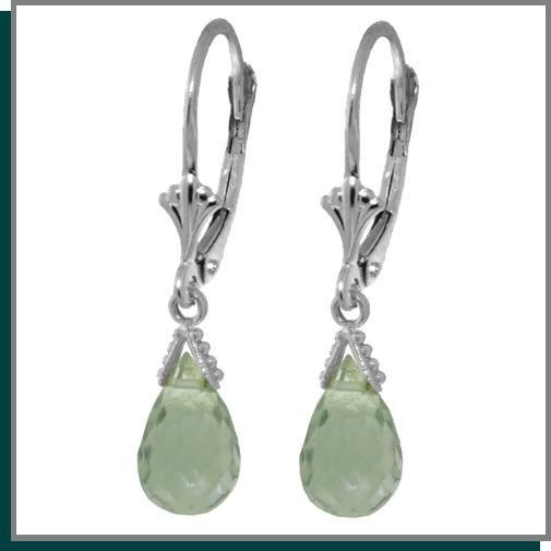4.50 CT Green Amethyst Sterling Silver Dangle Earrings