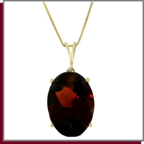 14K Yellow Gold 6.0 CT Genuine Oval Garnet Necklace 18""