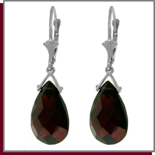 10.20 CT Sterling Silver Garnet Dangle Earrings