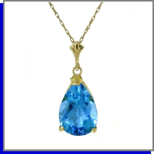 14K Yellow Gold 1.5 CT Pear Blue Topaz Necklace 18""