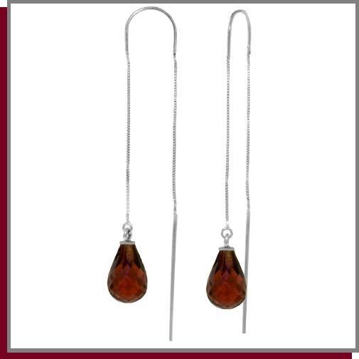 4.50 CT Garnet Sterling Silver Threaded Earrings