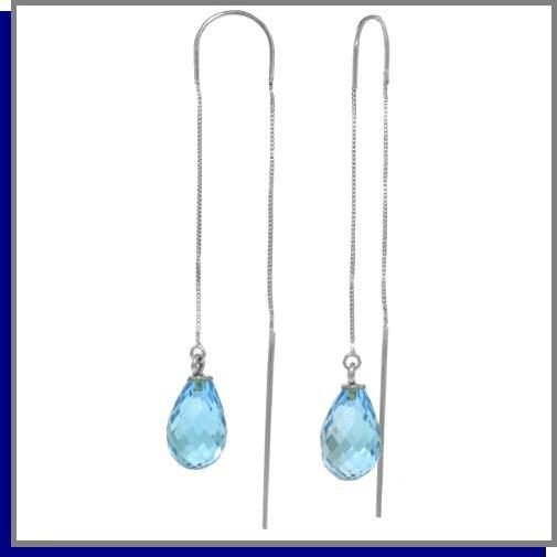 4.50 CT Blue Topaz Sterling Silver Threaded Earrings
