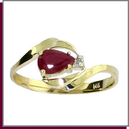 14K Solid Gold .50 CT Pear Ruby & Diamond Ring SZ 5 - 9