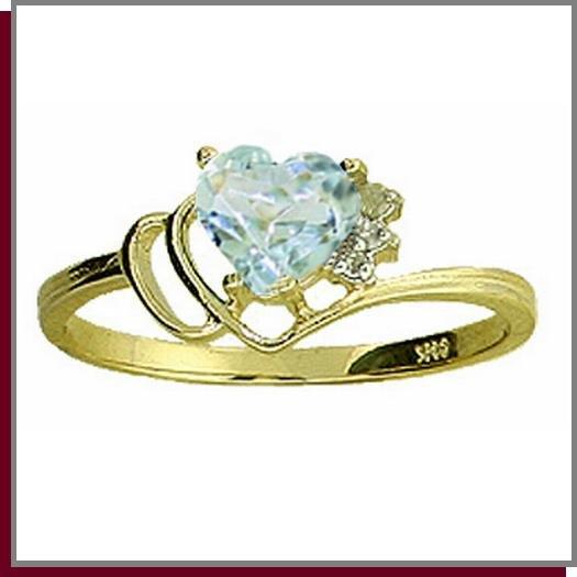 14K Gold 1.0 CT Heart Aquamarine & Diamond Ring SZ 5 - 9