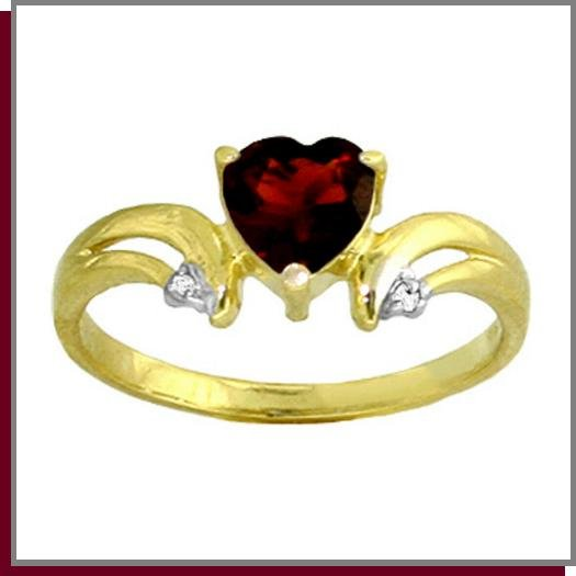 14K Gold 1.25 CT Heart Garnet & Diamond Ring SZ 5 - 9