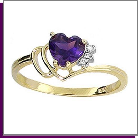 14K Gold 1.0 CT Heart Amethyst * Diamond Ring SZ 5 - 9