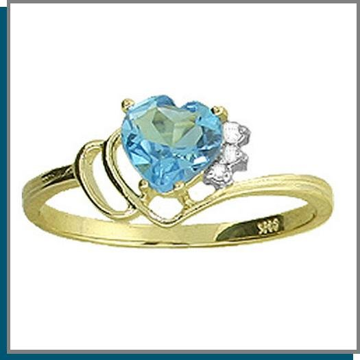 14K Gold 1.0 CT Heart Blue Topaz & Diamond Ring SZ 5 - 9