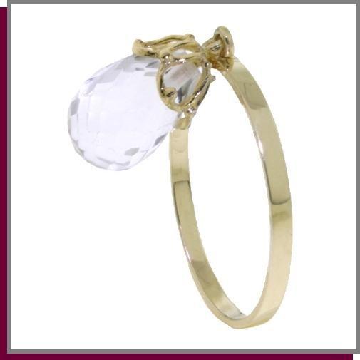 14K 3.0 CT Dangling Briolette White Topaz Ring SZ 5 - 9