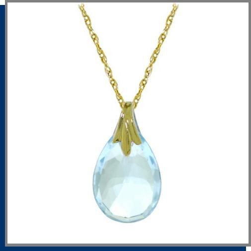 """14K Solid Gold 3.0 CT Briolette Blue Topaz Necklace 18"""""""