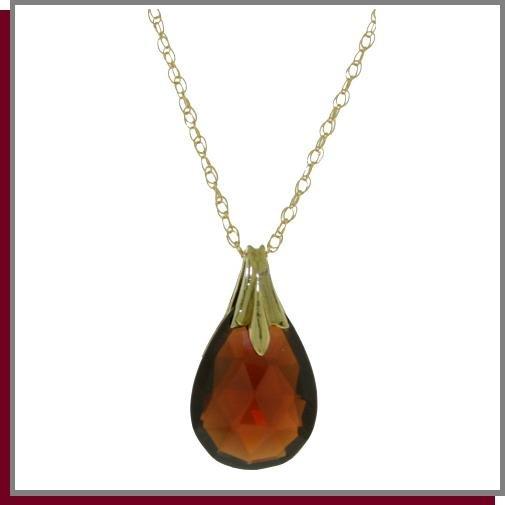 """14K Solid Gold 3.0 CT Briolette Garnet Necklace 18"""""""