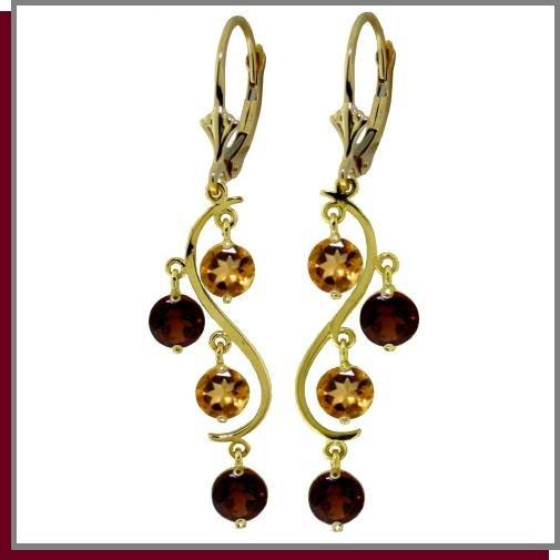 14K Yellow Gold 4.60 CT Garnet & Citrine Dangle Earring