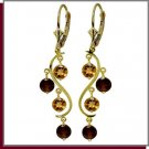 14K Yellow Gold 4.60 CT Garnet & Citrine Dangle Earring