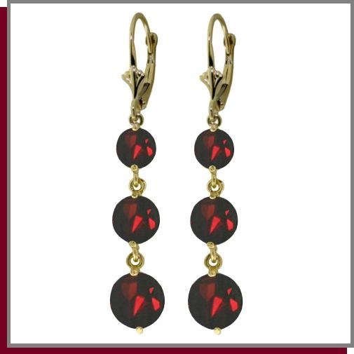 14K Yellow Gold 7.20 CT Genuine Garnet Dangle Earrings