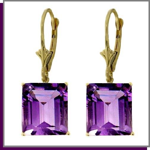 14K Yellow Gold 13.00 CT Amethyst Dangle Earrings