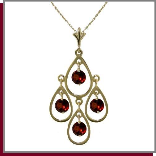 """14K Yellow Gold 1.20 CT Genuine Garnet Necklace 18"""""""