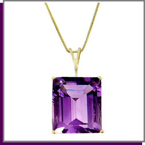 14K Yellow Gold 6.50 CT Genuine Amethyst Necklace 18""