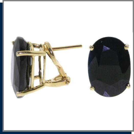 14K Yellow Gold 17.0 CT Oval Sapphire Post Earrings