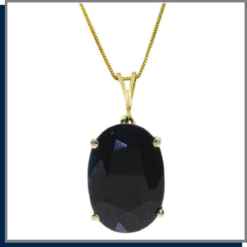 14K Yellow Gold 8.50 CT Oval Sapphire Necklace 18""