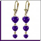 14K Yellow Gold 6.0 CT Heart Amethyst Dangle Earrings