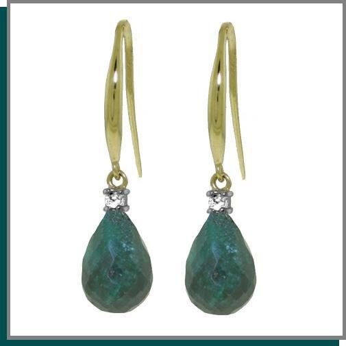 14K 6.60 CT Emerald & Diamond Dangle Earrings