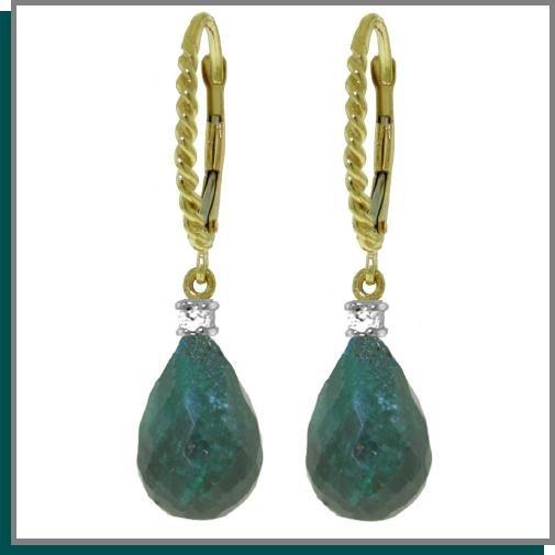 14K 17.60 CT Emerald & Diamond Dangle Earrings