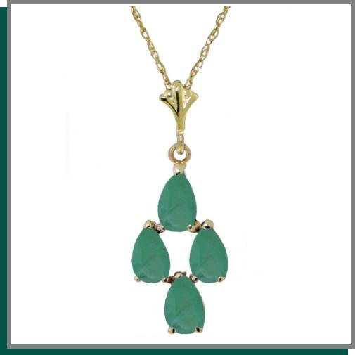 14K Gold 1.50 CT Pear Shape Emerald Necklace