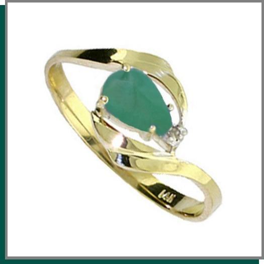 14K Gold .50 CT Pear Shape Emerald & Diamond Ring SZ 5 - 9