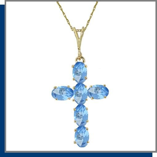 14K Solid Gold 1.50 CT Blue Topaz Cross Necklace