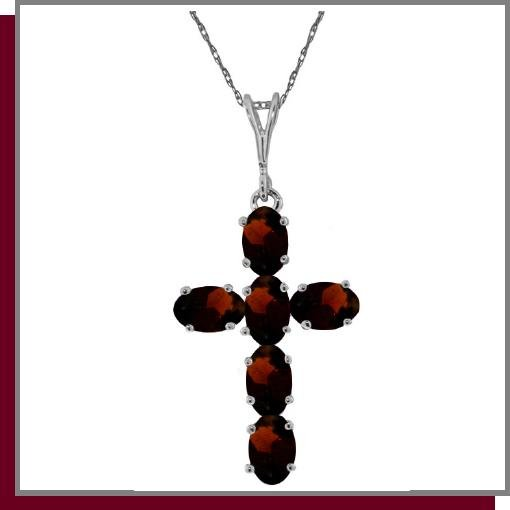 14K White Gold 1.50 CT Genuine Garnet Cross Necklace