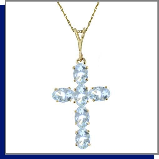 14K Yellow Gold 1.50 CT Aquamarine Cross Necklace